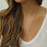 gold filled delicate chain necklace with black stone detailing