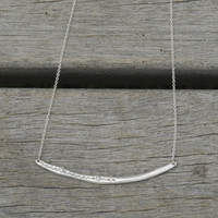sterling silver delicate chain bar necklace with white stone detailing
