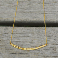 gold filled delicate chain bar necklace with black stone detailing