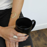 textured brass adjustable statement cuff