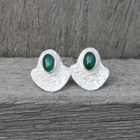 silver plated brass textured studs with a bold bezel and green agate stone detail