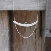 Textured bar with green agate stone detailing and multi-length sterling silver chain