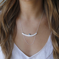 Textured bar with turquoise stone detailing and multi-length sterling silver chain