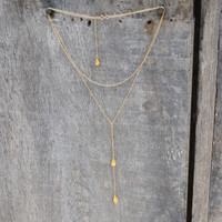 Gold-filled bolero necklace with textured pendants