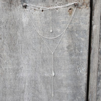 Sterling silver bolero necklace with textured pendants