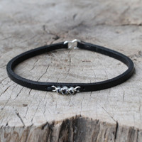 black leather bracelet with smoky quartz detailing