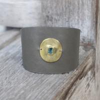 Brass/ Grey with Aqua