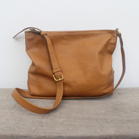 caramel leather handbag with top zipper and adjustable straps