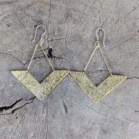 Handmade, unique brass earrings