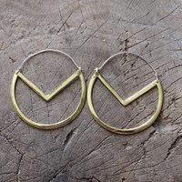 Handmade geometric drop brass earrings