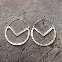 Handmade geometric drop silver earrings