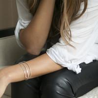 Delicate adjustable cuff bracelet in silver