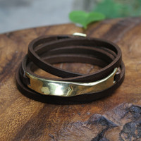 Thin chocolate brown leather multi wrap bracelet with brass wavy detail