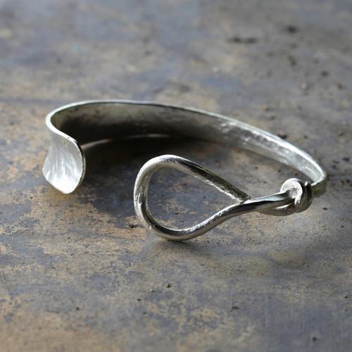 Silver cuff bracelet with twist detail