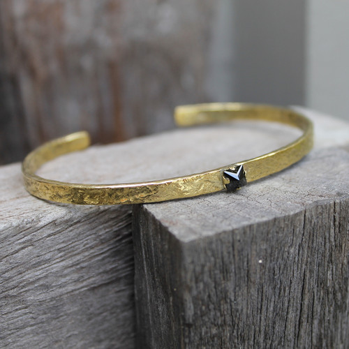 textured brass adjustable cuff with black stone