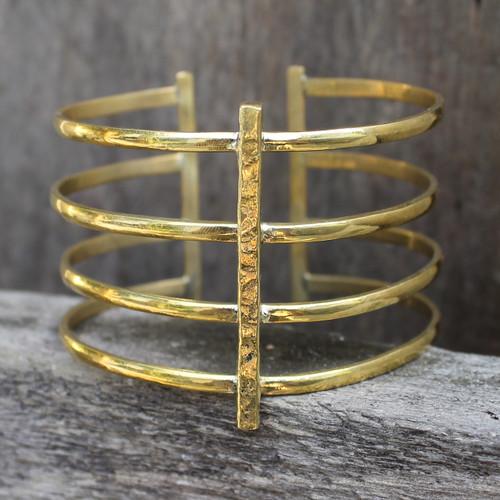 Modern brass statement cuff
