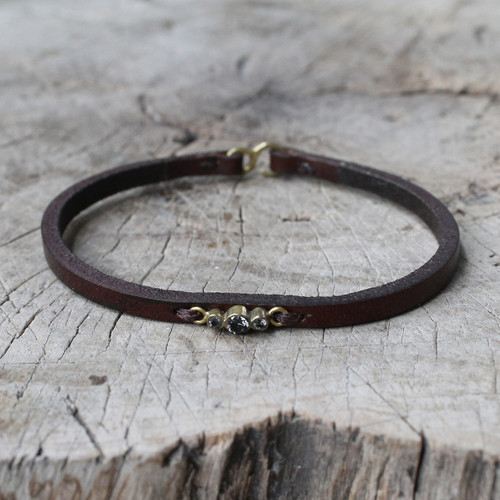 brown leather bracelet with smoky quartz detailing
