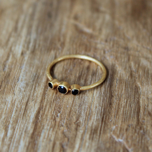 gold stacking ring with smoky quartz detail
