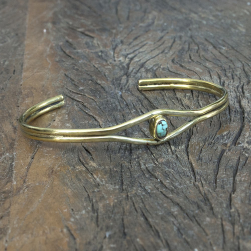 Unique brass cuff with semi-precious stone