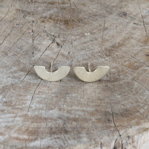 Crescent shaped silver studs