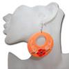 Orange wooden hoop earrings