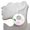 White wooden hoop earrings