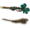 Teal gem and stone butterfly hair pins