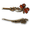 Brown gem and stone butterfly hair pins