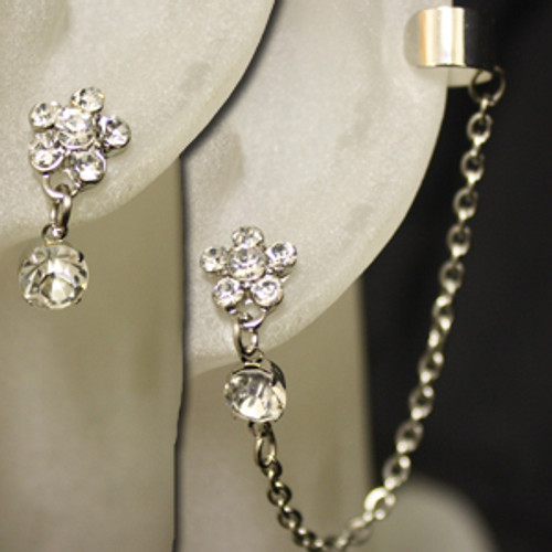 Wholesale flower diamond ear cuff set