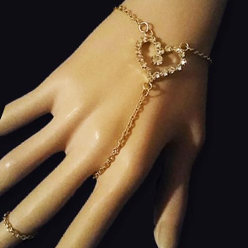 Diamond heart slave bracelet