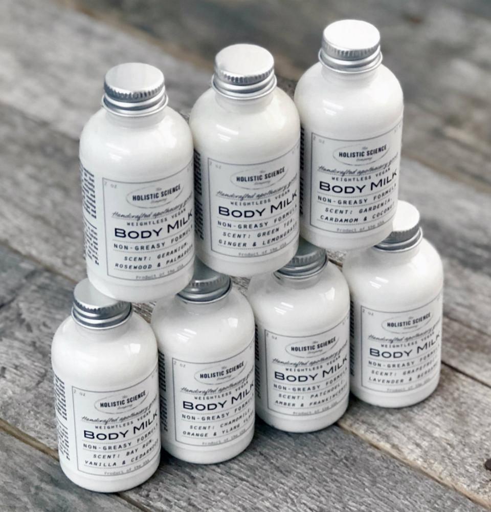 Vegan Body Milk – Patchouli, Amber & Frankincense 2oz (NEW!)