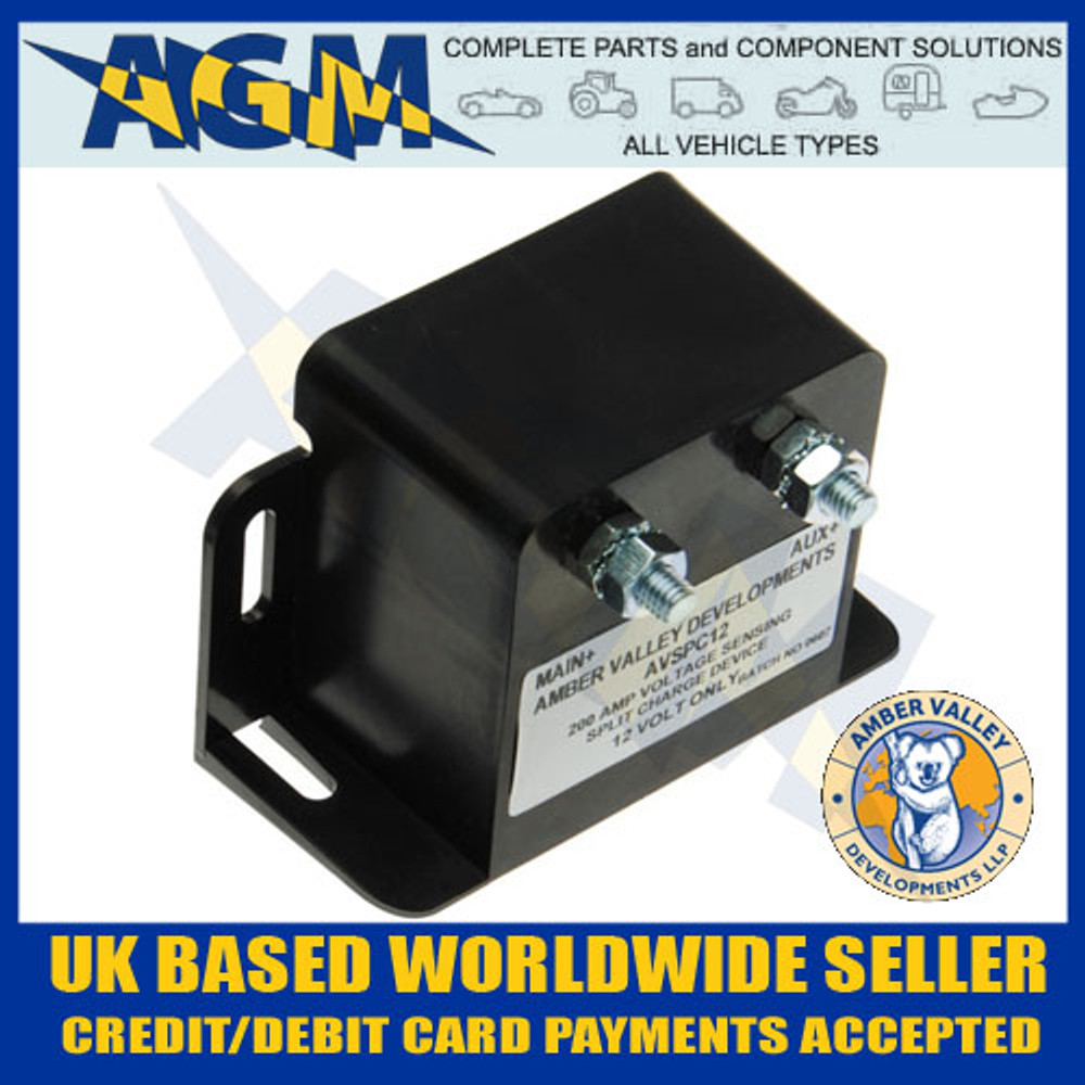 amber, valley, avspc12, 12v, 200a, intelligent, split, charge, voltage, relay