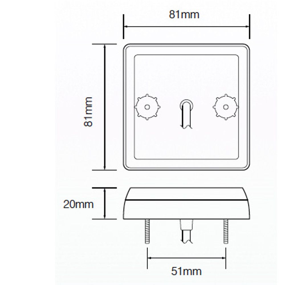 LED 81W Compact Slimline White LED Reverse Reversing Light 12 Volt