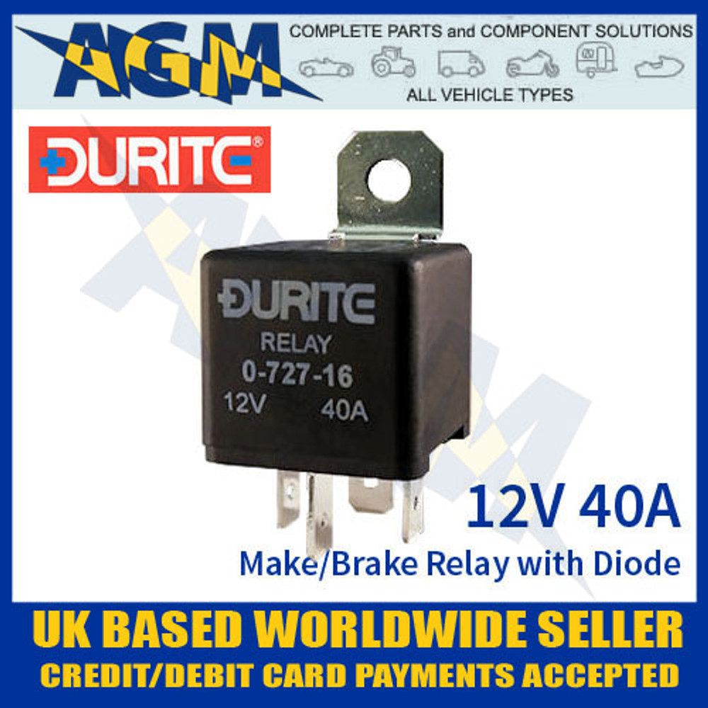 0-727-16, durite, 072716, 12v, mini, make, break, relay, diode
