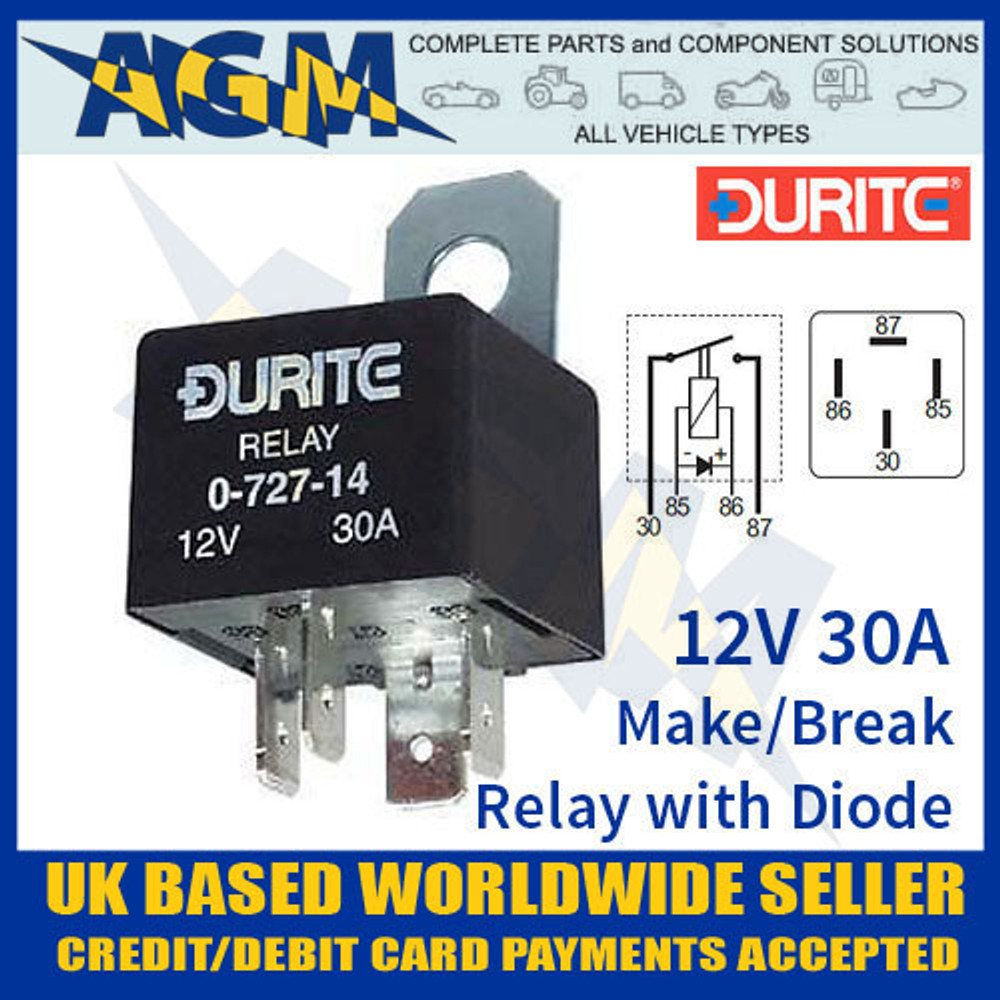 durite, 0-727-14, 12v, mini, make, break, relay, diode