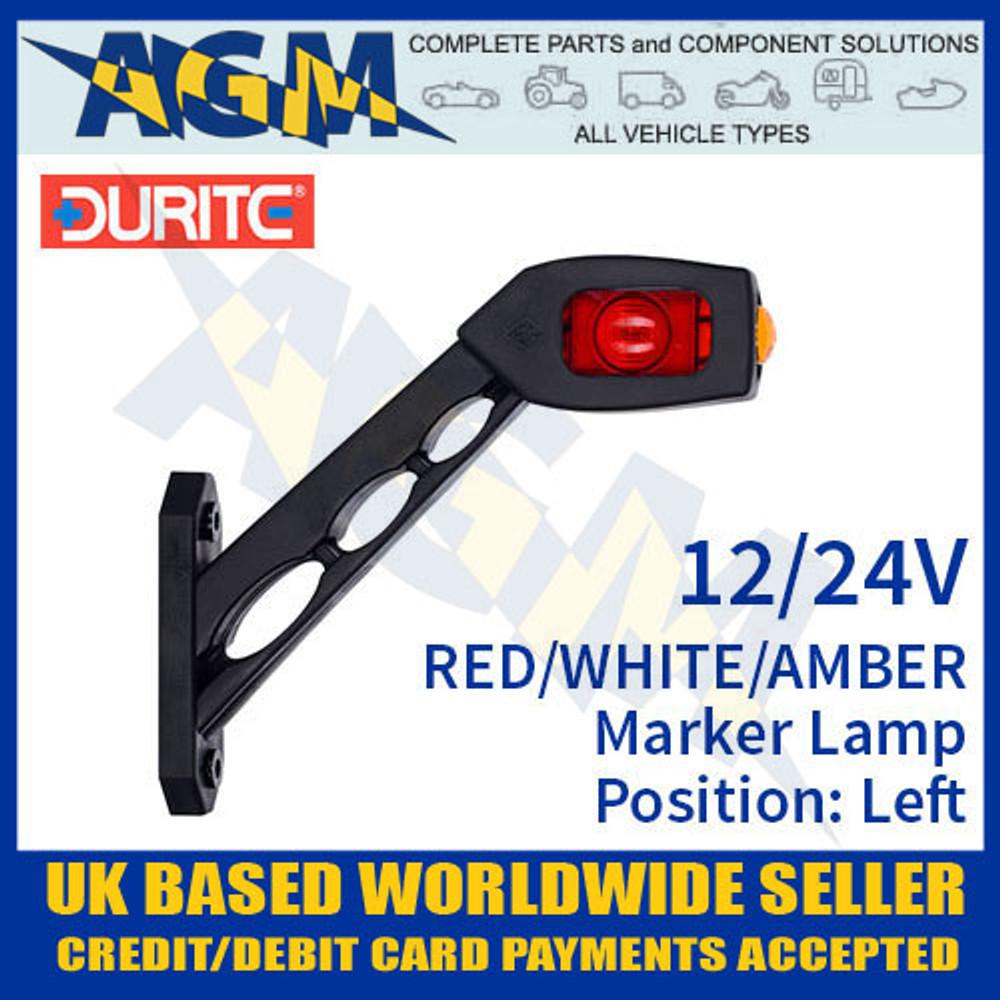 durite, 0-172-76, 017276, red, white, amber, oblique, led, outline, marker, lamp, 12v, 24v