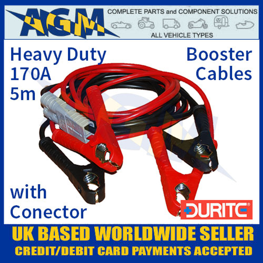 Durite 0-205-11 Set of Two Slave Leads 170A 5m HD Booster Cables with Connector
