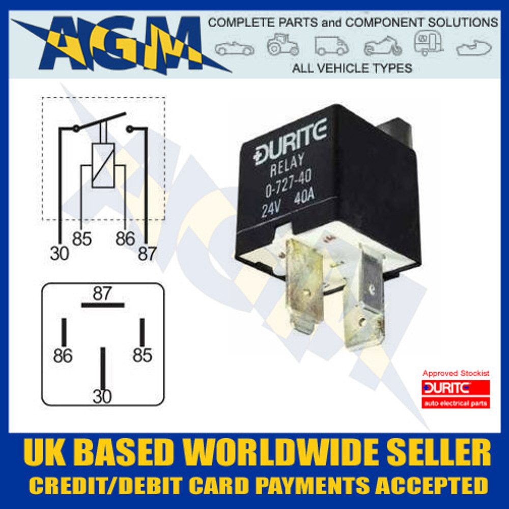 Durite 0-727-40 24V 40A Heavy Duty Mini Make and Break Relay