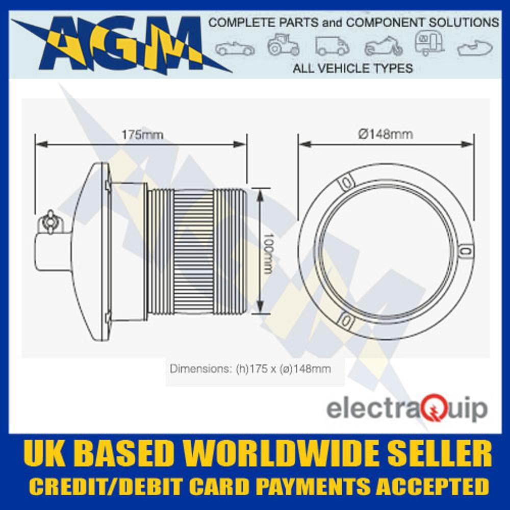 Electraquip EQPR65ABM-DM Din Mounted R65 LED Amber Beacon