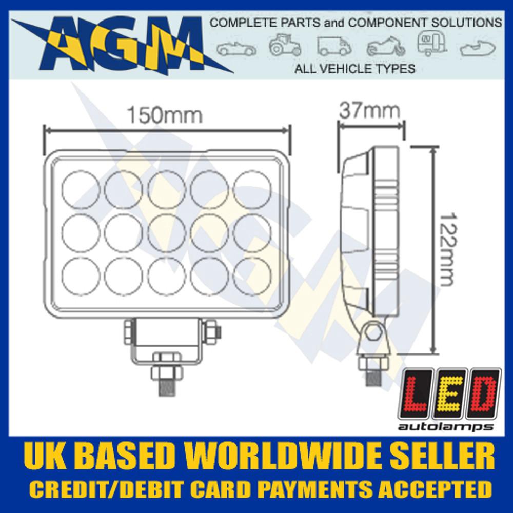 LED Autolamps  15045BM LED Rectangular Flood Lamp 12/24v