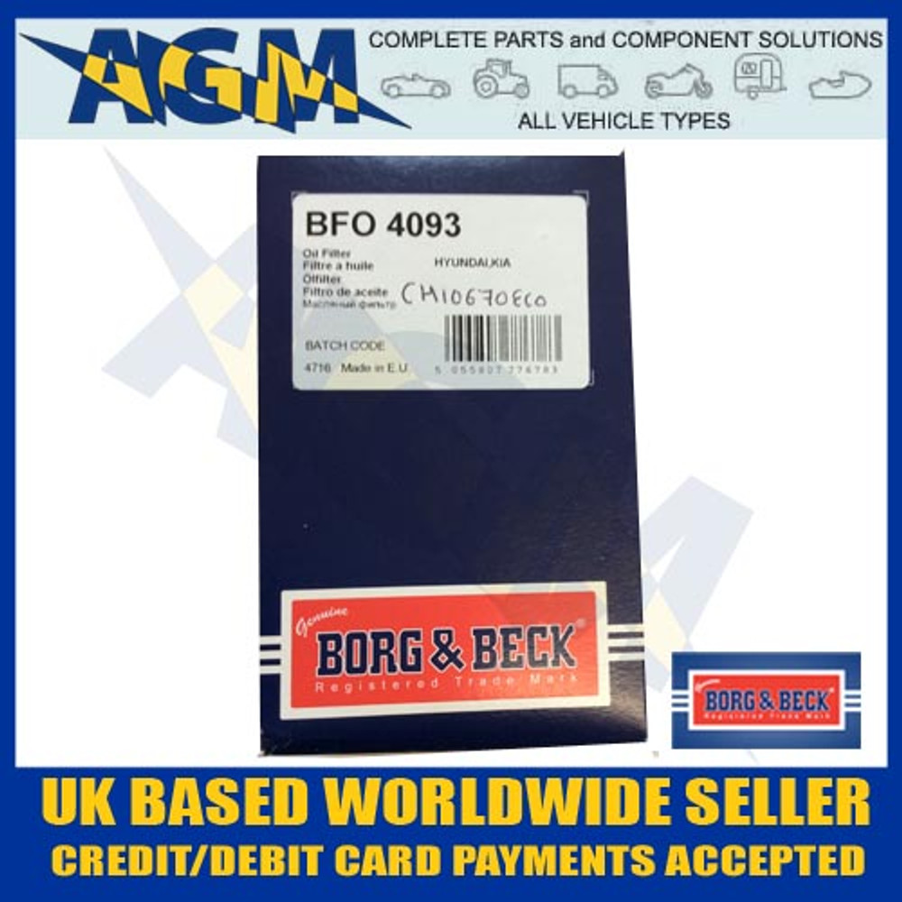 Borg And Beck BFO4093 Oil FIlter I20, I40, IX20, Rio, Soul, Venga