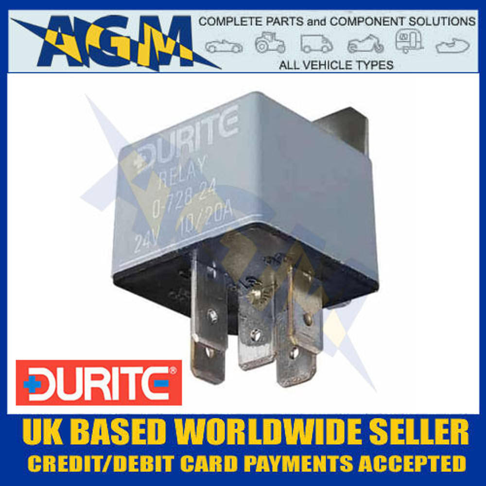 Durite 0-728-24, 24v, 5 Terminal Make/Break Relay with Bracket 10/20 Amp