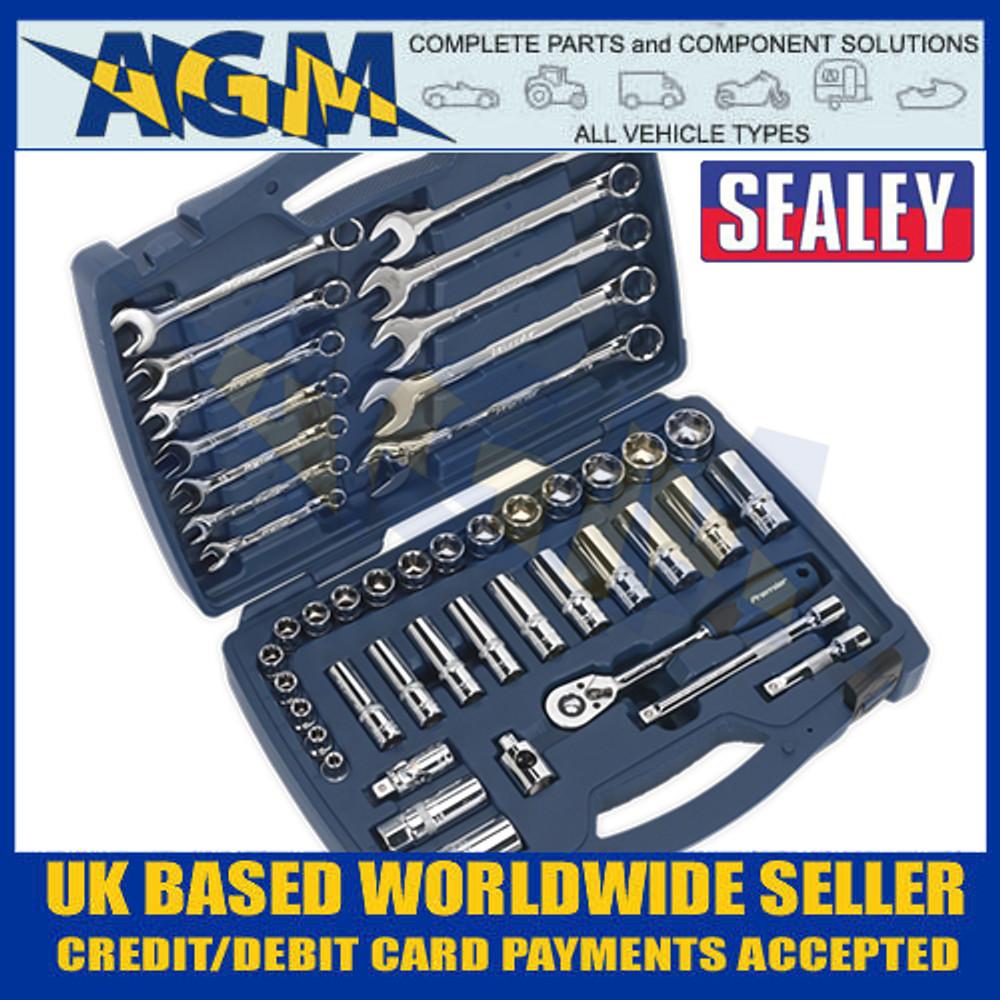 """Sealey AK8996 Socket and Spanner Set 46pc 3/8""""Sq Drive 6pt WallDrive® Metric"""