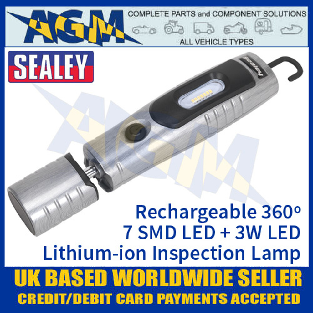 Sealey Rechargeable 360º Inspection Lamp 7 SMD LED + 3W LED - Brushed Aluminium