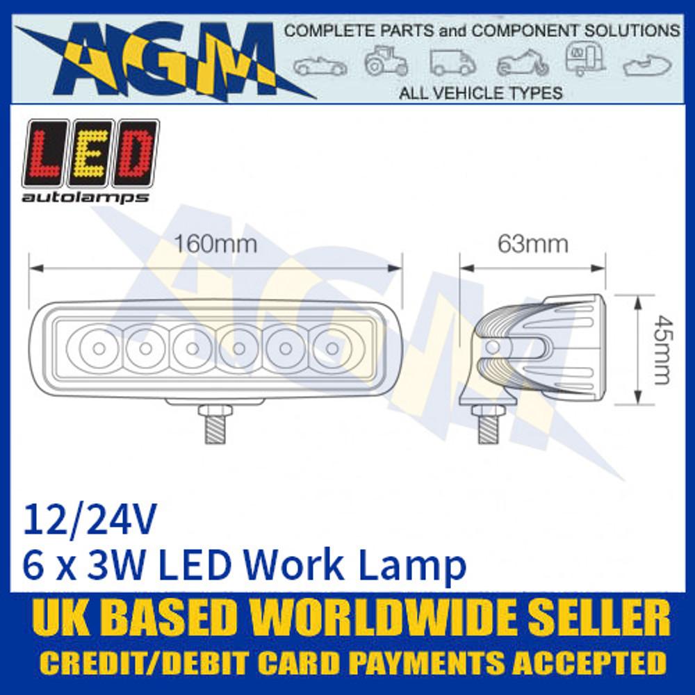 LED Autolamps 16018BW Rectangular 6 x 3W LED Work Lamp, Dimensions