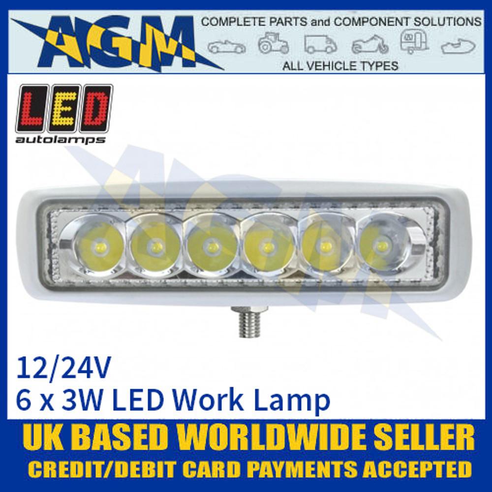 LED Autolamps 16018WM Rectangular 6 x 3W LED Work Lamp, White, Front