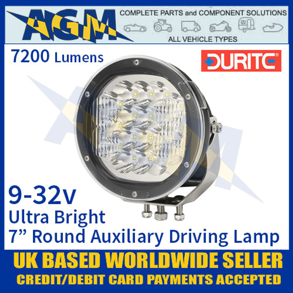 "Durite 0-537-47 Ultra Bright 7"" Round LED Auxiliary Driving Lamp, 7200 Lumens"