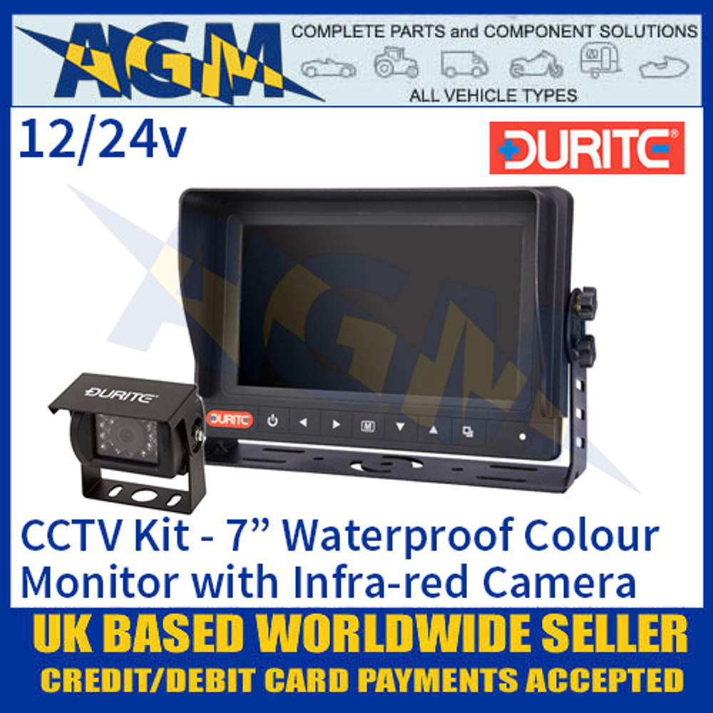 "Durite 0-776-31 CCTV Kit, 7"" Waterproof Colour Monitor, Infra-red Camera 12/24v"