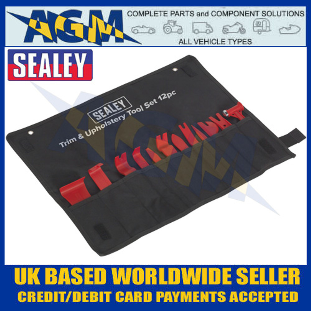 Sealey RT12KIT 12 Piece, Trim & Upholstery Removal Tool Kit, Trim Stud Removal