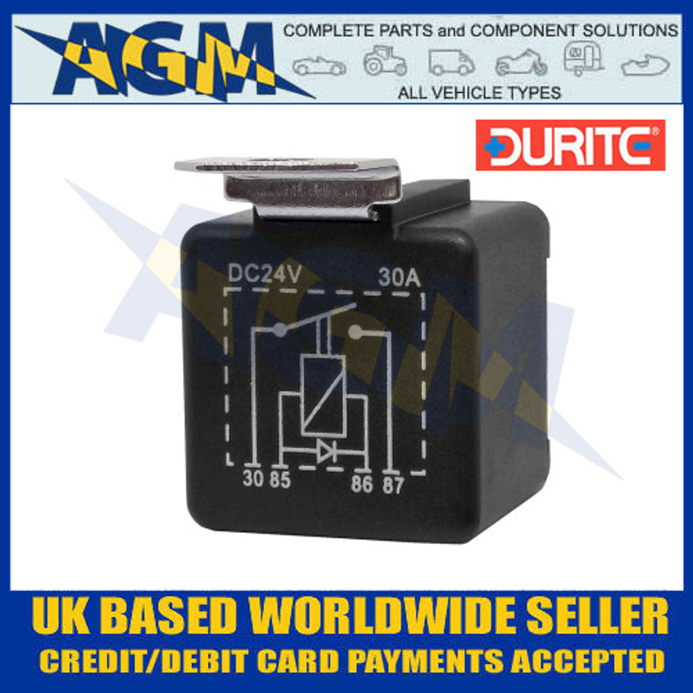 0-727-28 Durite 24V 30A Mini Make and Break Relay with Diode - Circuit Layout